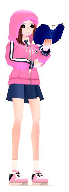 Mabinogi Pink-Dyed Female Modern School Uniform with Study Gesture Card