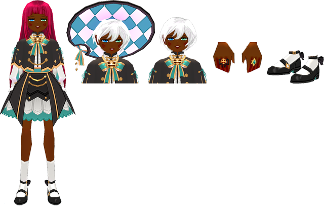 Mabinogi Magical Halloween Witch Outfit (F), Mabinogi Magical Halloween Witch Wig and Hat (F), Mabinogi Magical Halloween Witch Wig (F), Mabinogi Magical Halloween Witch Wig and Hat (F), Mabinogi Magical Halloween Witch Shoes (F)