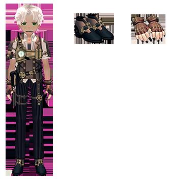 Mabinogi Steam Engineer Outfit (M), Mabinogi Steam Engineer Shoes (M), Mabinogi Steam Engineer Gloves (M)