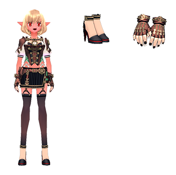 Mabinogi Steam Engineer Outfit (F), Mabinogi Steam Engineer High Heels (F), Mabinogi Steam Engineer Gloves (F)