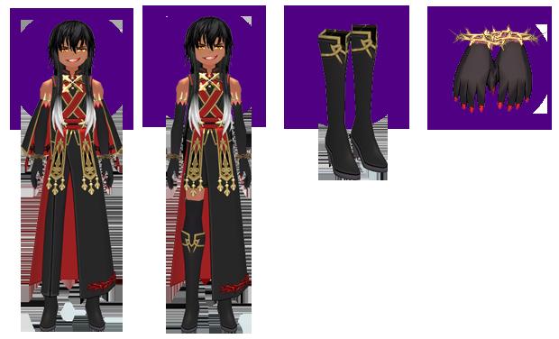 Mabinogi Dark Divination Long Outfit (M), Mabinogi Dark Divination Short Outfit (M), Mabinogi Dark Divination Boots (M), Mabinogi Dark Divination Gloves (M)