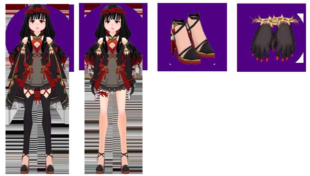 Mabinogi Dark Divination Long Dress (F), Mabinogi Dark Divination Short Dress (F), Mabinogi Dark Divination Heels (F), Mabinogi Dark Divination Gloves (F)